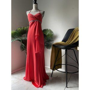 Nightway Backless Red Halter Gown